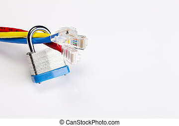 Internet Security - A padlock and keys with ethernet cables...