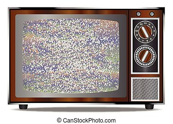 Old Television Static - An old wood surround television...