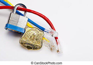 Internet Security - A padlock with ethernet cables and...
