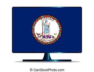 Virginia Flag TV - A TV or computer screen with the Virginia...