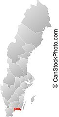 Map - Sweden, Blekinge County - Map of Sweden with the...