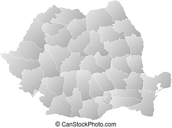 Map - Romania - Map of Romania with the provinces, filled...