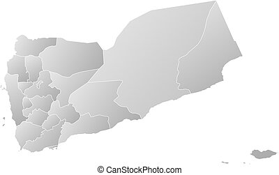 Map - Yemen - Map of Yemen with the provinces, filled with a...