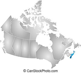 Map - Canada, Nova Scotia - Map of Canada with the...