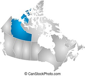 Map - Canada, Northwest Territories - Map of Canada with the...