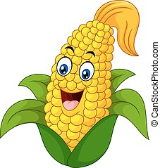 Cartoon Sweet Corn - Vector illustration of Cartoon Sweet...