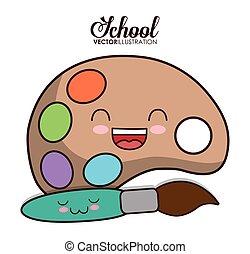 Kawaii cartoon icon. School design. Vector graphic - School...