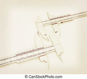 Calipers on a white background 3D illustration Vintage style...