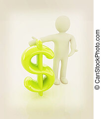 3d people - man, person presenting - dollar sign 3D...