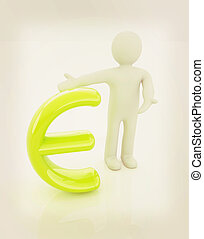 3d people - man, person presenting - euro sign 3D...