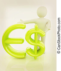 3d people - man, person presenting - dollar and euro sign 3D...