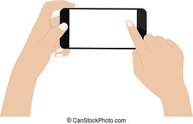 vector desgin hand using phone on white background