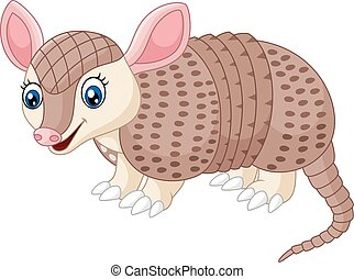 Cartoon happy Armadillo - Vector illustration of Cartoon...