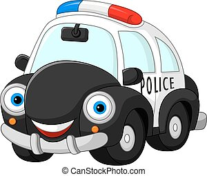 Cartoon police car character