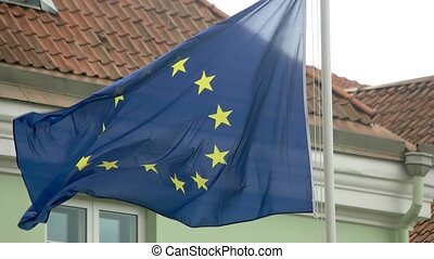 Flag of European Union. Banner waving in the wind. Council...