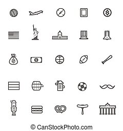 vector travel icon usa and German on white background