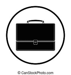 Suitcase icon Thin circle design Vector illustration