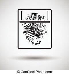 Fingerprint scan icon on gray background with round shadow...