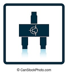 Smd transistor icon Shadow reflection design Vector...