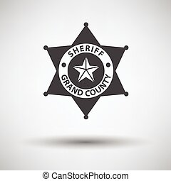Sheriff badge icon on gray background with round shadow....