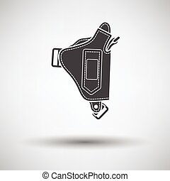 Police holster gun icon on gray background with round...