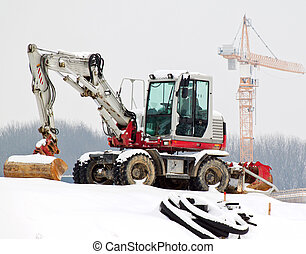 Construction site in the winter. Saisionale unemployment in...