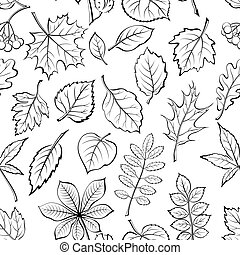 Leaves of Plants Pictogram, Seamless - Seamless Pictogram...