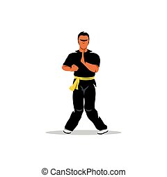 Vector Wing Chun kung fu Cartoon Illustration - Man work out...