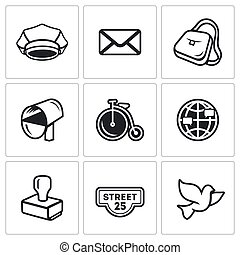 Vector Set of Post Office Icons. Postman, Letter, Delivery,...