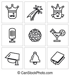 Vector Set of Prom Icons. King, Firework, Queen, Equipment, Disco, Alcohol, Master, Last Call, Scenario.