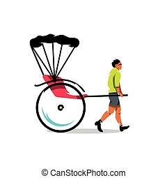 Vector China Rickshaw Cartoon Illustration - Hand pulled...