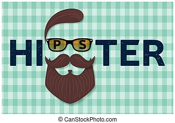 Hipster typography design. Hipster style hair, beards and...