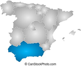 Map - Spain, Andalusia - Map of Spain with the provinces,...