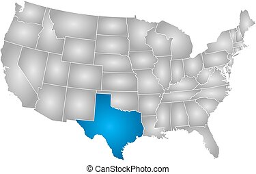 Map - United States, Texas - Map of United States with the...