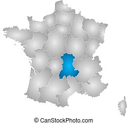 Map - France, Auvergne - Map of France with the provinces,...