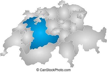 Map - Swizerland, Bern - Map of Swizerland with the...