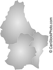 Map - Luxembourg - Map of Luxembourg with the provinces,...