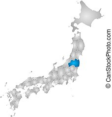 Map - Japan, Fukushima - Map of Japan with the provinces,...