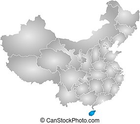 Map - China, Hainan - Map of China with the provinces,...