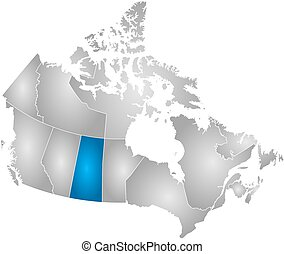Map - Canada, Saskatchewan - Map of Canada with the...
