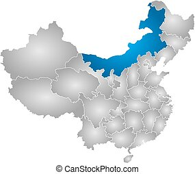 mapa, -, China, interior, mongolia