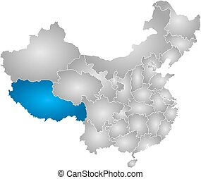 Map - China, Tibet - Map of China with the provinces, filled...