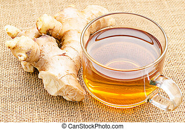 ginger tea on sack. - ginger tea on sack background.