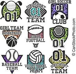 Vector set of sport colorful labels. Design elements, icons,...