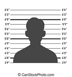 Police Lineup with Man Silhouette. Vector illustration