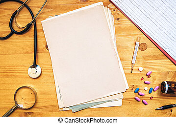Assorted office supplies on doctor's desk