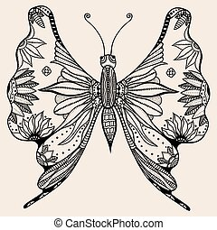 Amazing wonderland fly butterfly - Hand drawn butterfly of...