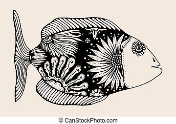 ornamental graphic fish Vector vintage engraving Zentangle...