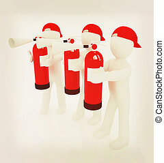 3d mans with red fire extinguisher . 3D illustration....