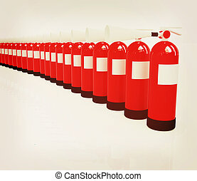 Red fire extinguishers. 3D illustration. Vintage style. -...